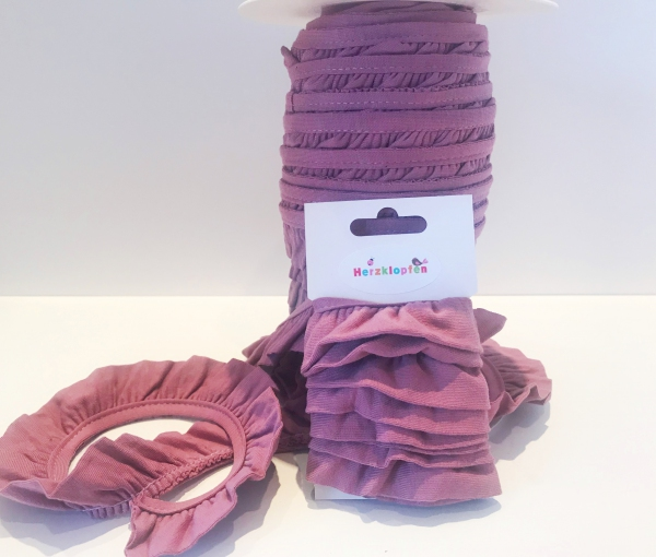 Jersey Rüschenband lila elastisch