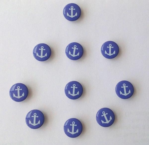 Druckknöpfe blau weisser Anker nähfrei