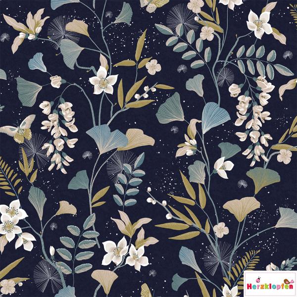 Sweat digital Ginko und Blütenblätter auf dunkelblau