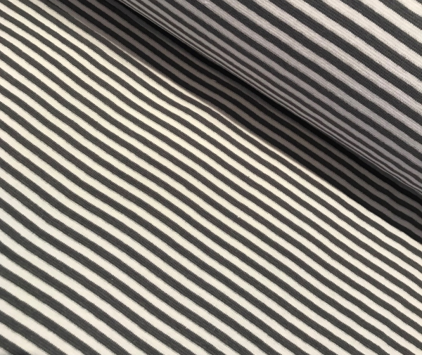Bündchen grau weiss gestreift - Schlauchware