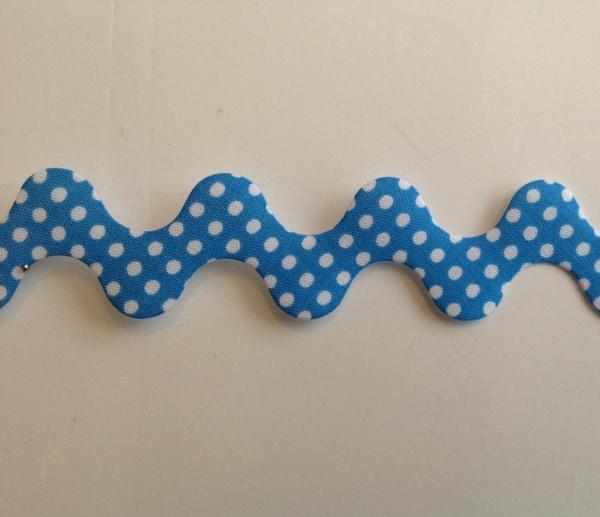 Super breite Zackenlitze mittelblau mit weissen Punkten 30 mm