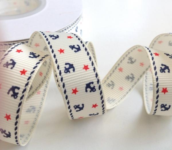 5 m Ripsband creme mit Ankern und Sternen 16 mm