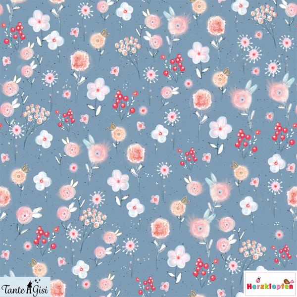 Lillestoff sommersweat - Aquarellwiese rauchblau