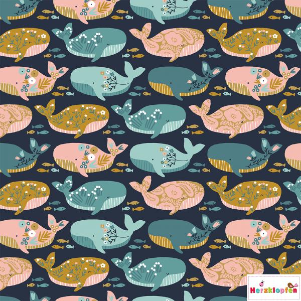 Baumwollstoff - bunte Wale-