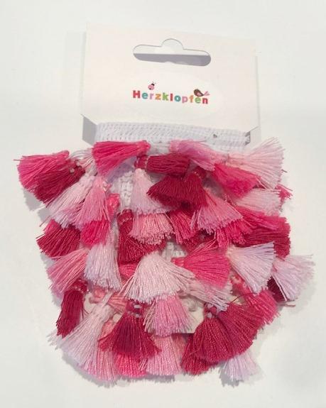 2 m Quastenband - Boho-Borte - rosa-pink
