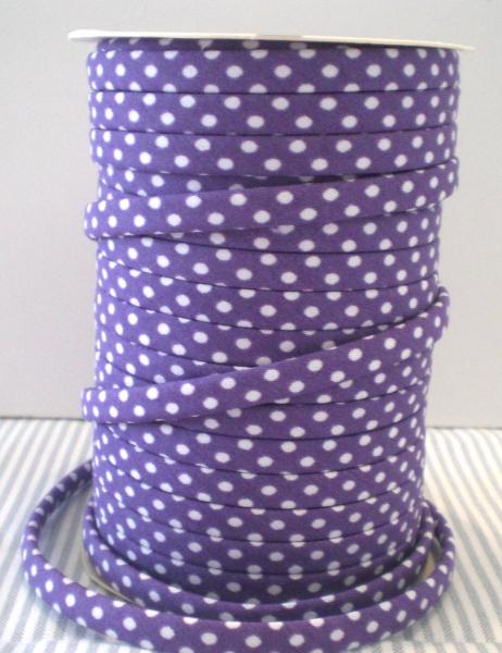 3 m Spaghetti Band lila mit weissen Punkten