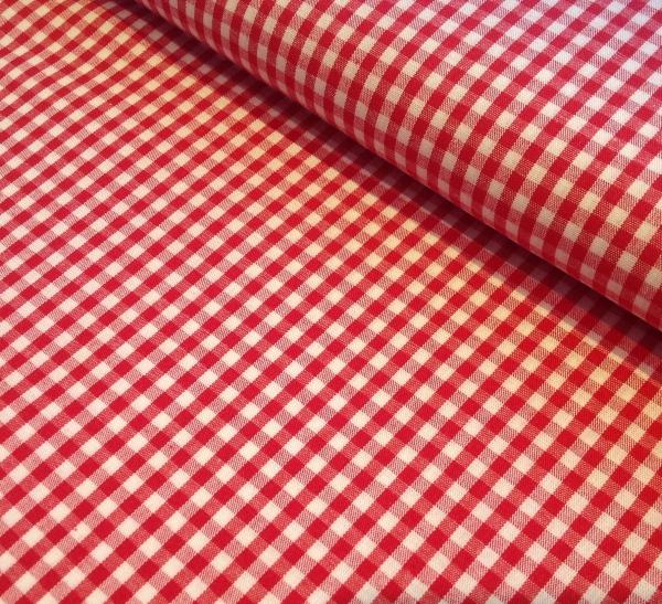 Baumwollstoff Vichykaro rot-weiss