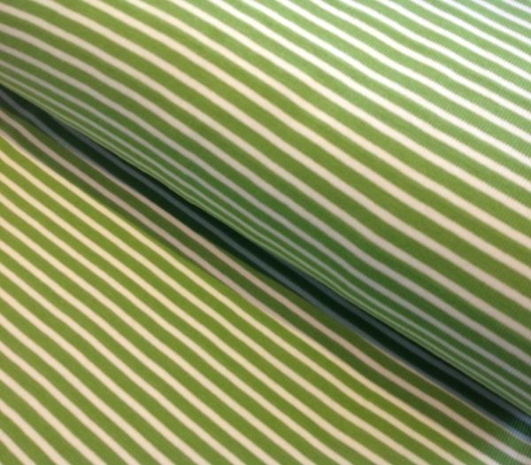 Bündchen Streifen grün weiss gestreift - Schlauchware