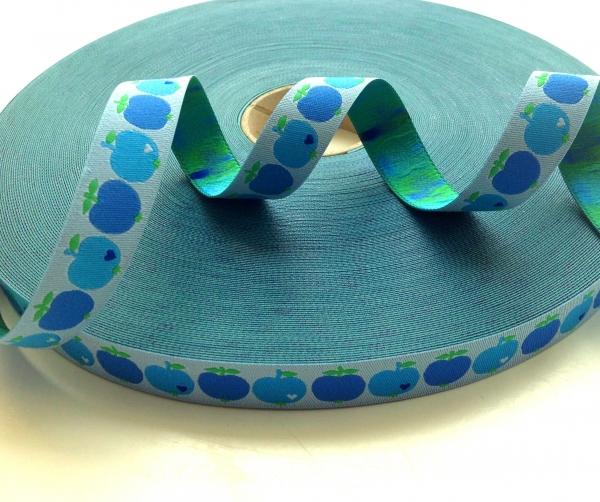 Webband Farbenmix - Äpfelchen blau byGraziela