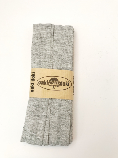3 m Jersey Schrägband - oaki doki - hellgrau meliert