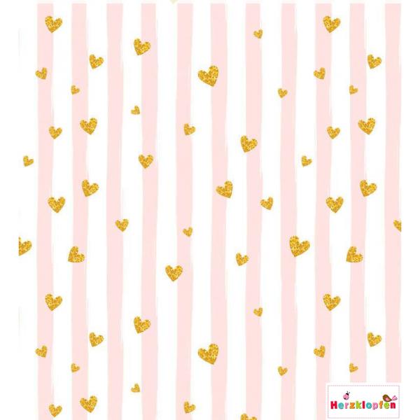 French Terry rosa-weiss gestreift mit kleinen Herzen