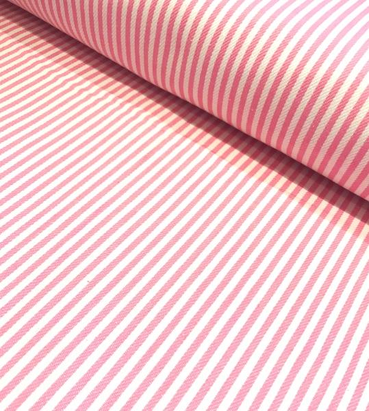 Jeansstoff gestreift rosa-weiss