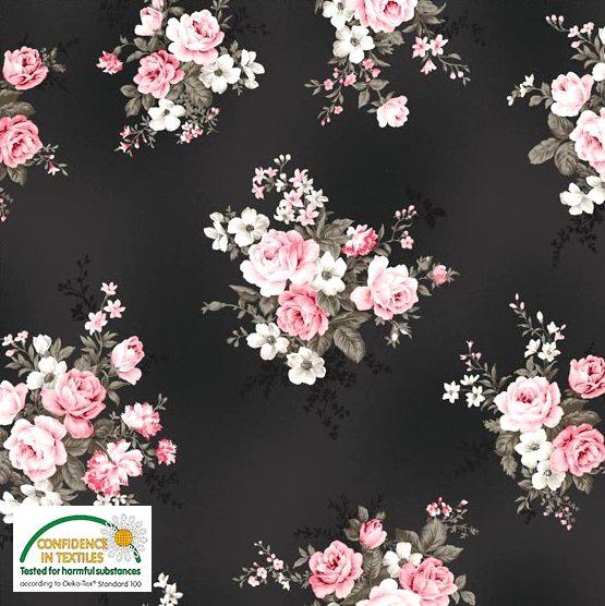 Sweat brushed - Grosse Rosenblüten