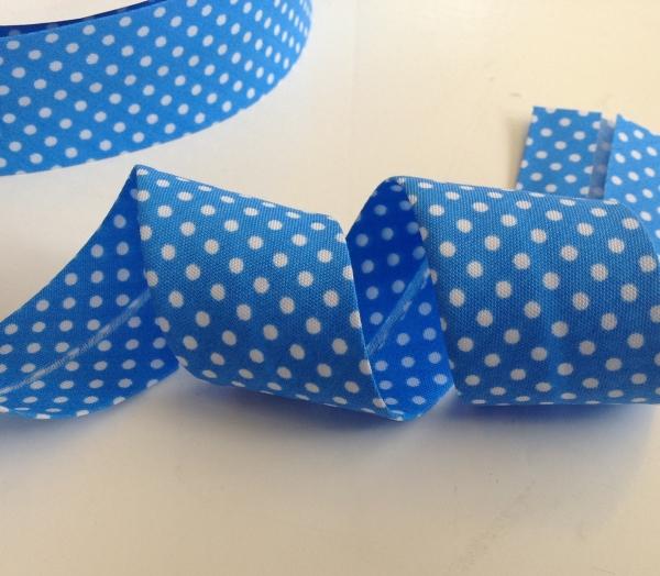 3 m Schrägband azur blau mit weissen Punkten 30 mm
