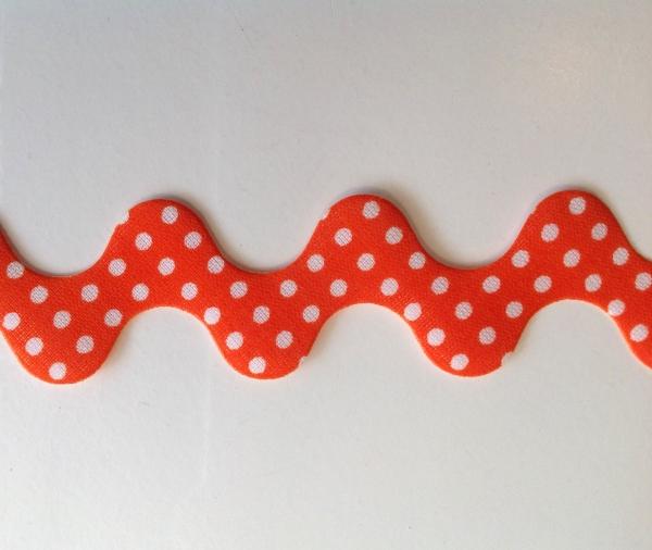 Super breite Zackenlitze orange mit weissen Punkten 30 mm