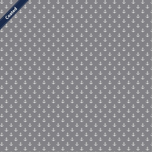 Beschichtete Baumwolle weisse Anker auf grau
