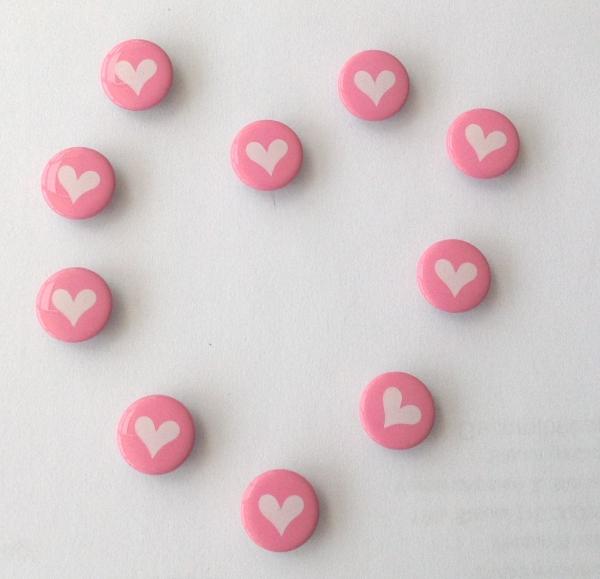 Druckknöpfe rosa weisses Herz nähfrei