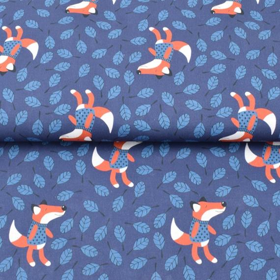 Baumwollldruck Füchse und Blätter in blau