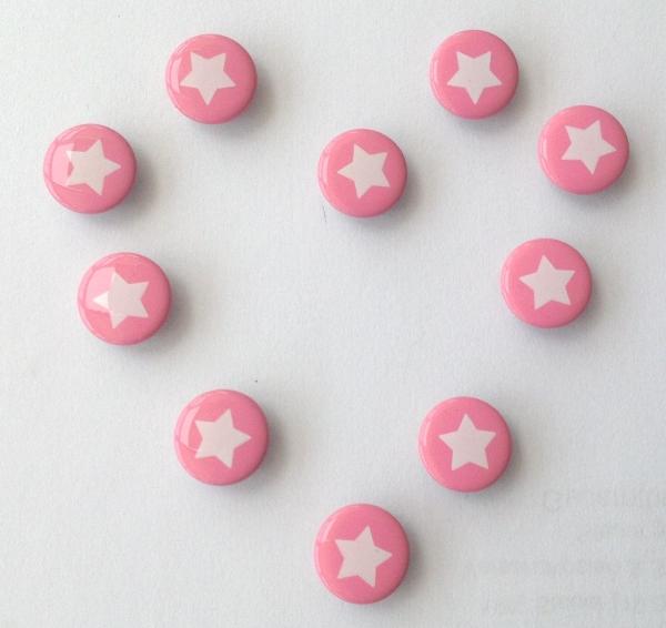 Druckknöpfe rosa weisser Stern nähfrei