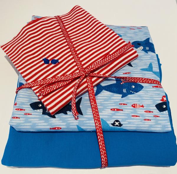 Stoffpaket Jersey - Lustige Haie -