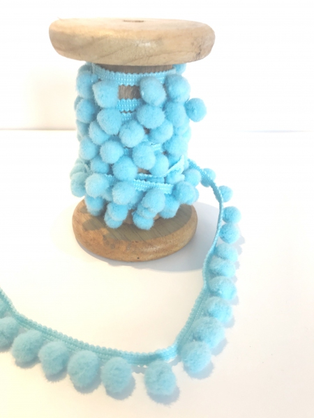1 m Pompom - Bommelband hellblau