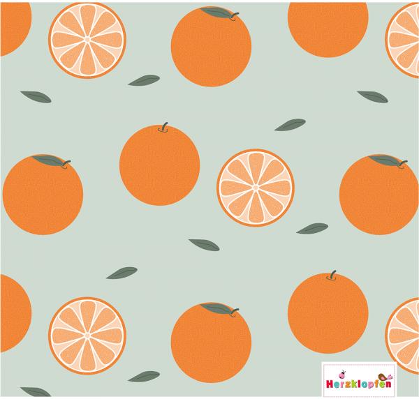 Lillestoff Jersey - Orangen auf mint