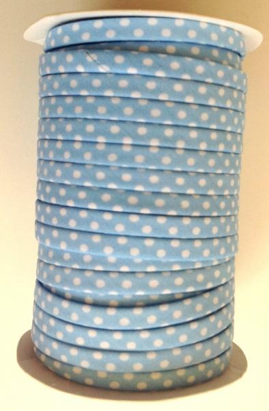 3 m Spaghetti Band hellblau mit weissen Punkten