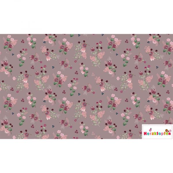 Jersey digital - Little flowers auf altrosa