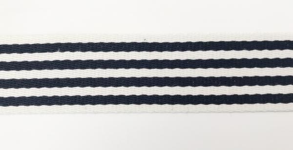 1 m Gurtband blau-weiss 4 cm - Baumwolle
