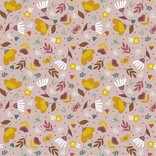 Baumwollstoff bunte Blumen auf altrosa