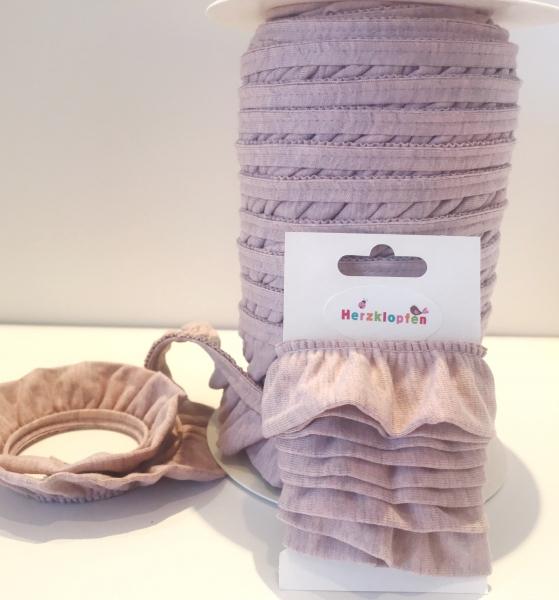 Jersey Rüschenband altrosa meliert elastisch