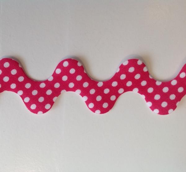 Super breite Zackenlitze pink mit weissen Punkten 30 mm