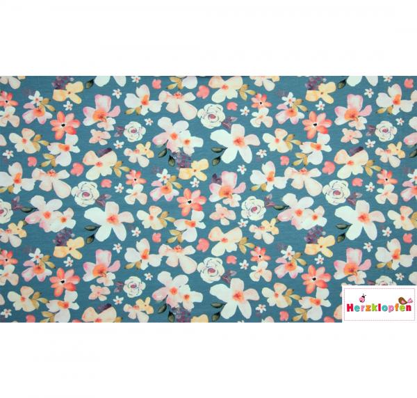 Baumwolljersey Blumen auf mittelblau - Digital Print