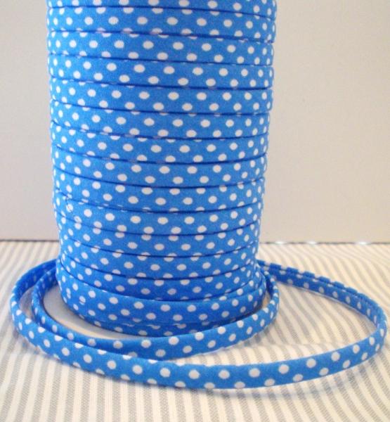 3 m Spaghetti Band blau azur mit weissen Punkten