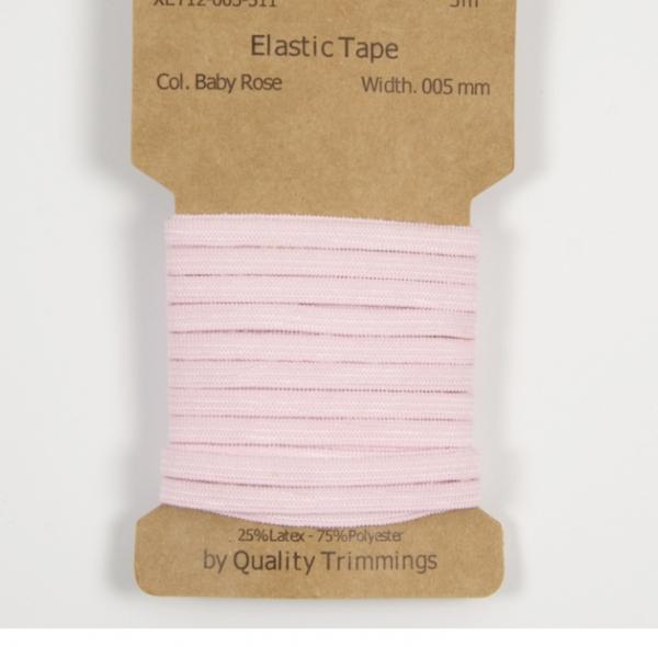 3 m Gummiband -5 mm für Masken in baby rosa
