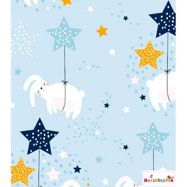 Baumwolljersey süsse Häschen und Sterne auf hellblau