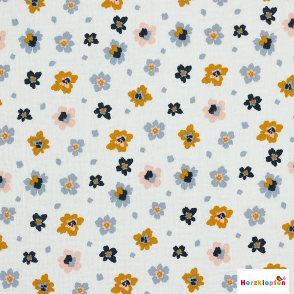 Baumwoll Musselin - weiss mit Blumen