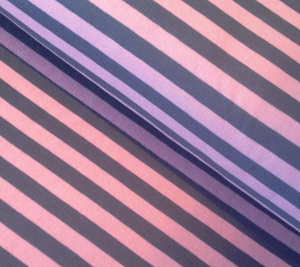 Jersey Streifen rosa grau