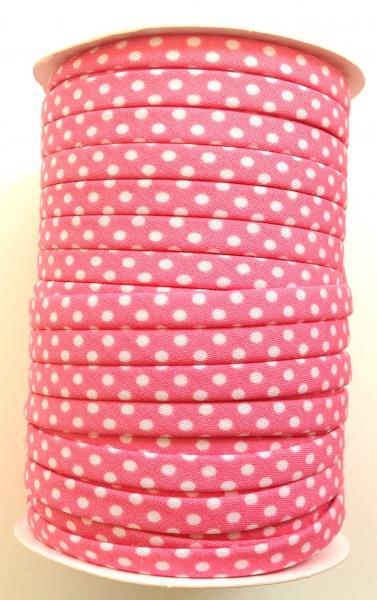 3 m Spaghetti Band rosa mit kleinen weissen Punkten