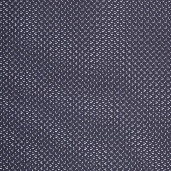 Beschichtete Baumwolle mit weissen Ankern auf dunkelblau