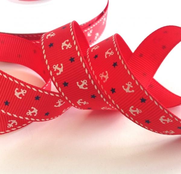 5 m Ripsband rot mit Ankern und Sternen