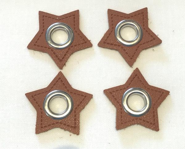 2 Stck. Ösen Patches - Sterne braun - 8 mm - Kunstleder-
