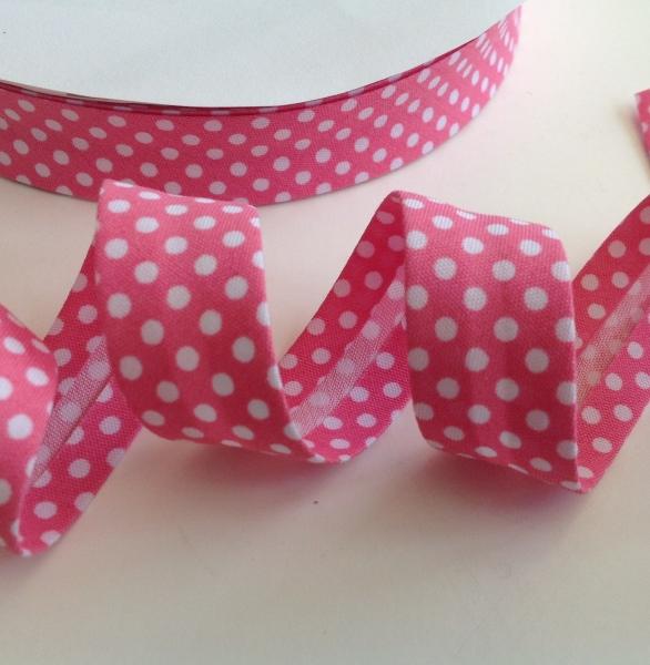 3 m Schrägband pink mit weissen Punkten 18 mm