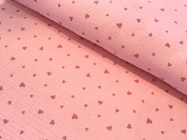 Musselin rosa mit kleinen Herzen