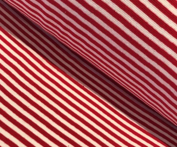 Bündchen rot weiss gestreift - Schlauchware