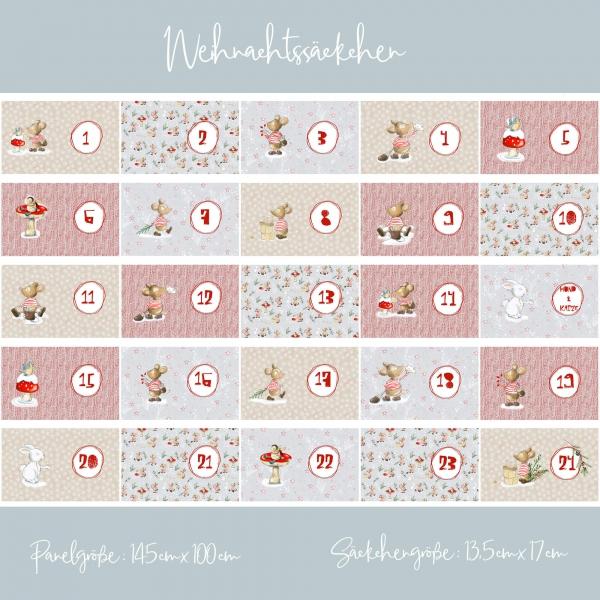 Lillestoff 24 Weihnachtssäckchen für Adventskalender