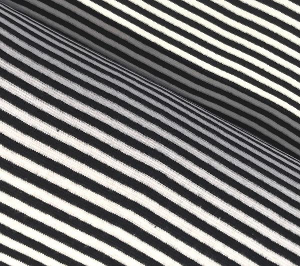 Bündchen dunkelblau weiss gestreift - Schlauchware