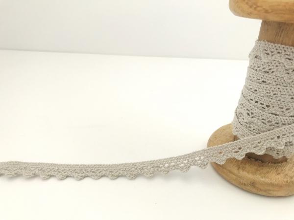 3 m Häkelspitze grau aus Baumwolle
