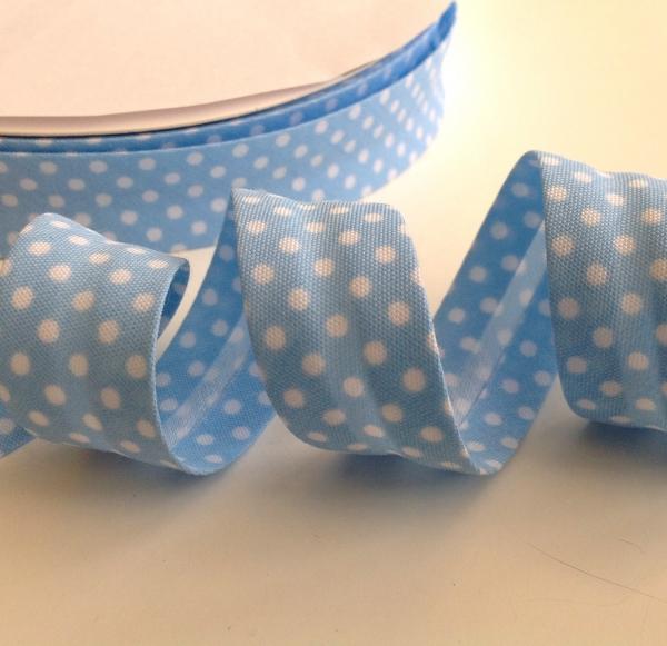 3 m Schrägband hellblau mit weissen Punkten 18 mm