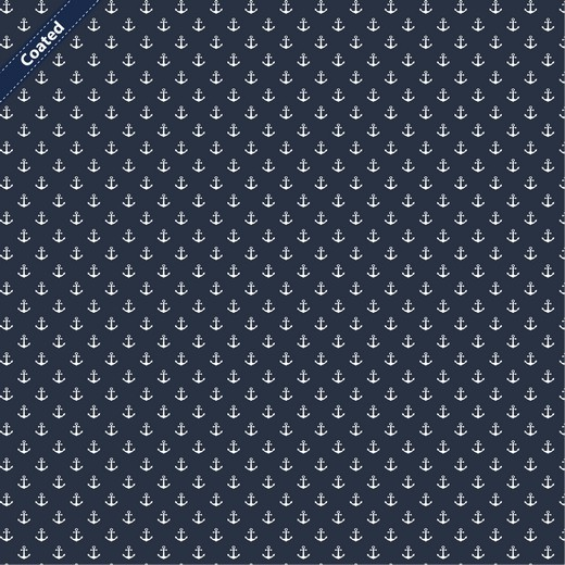 Beschichtete Baumwolle weisse Anker auf blau
